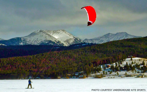 Winter Kite Boarding on Georgetown Lake