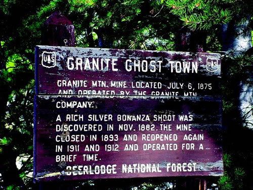 Granite Ghost Town Sign